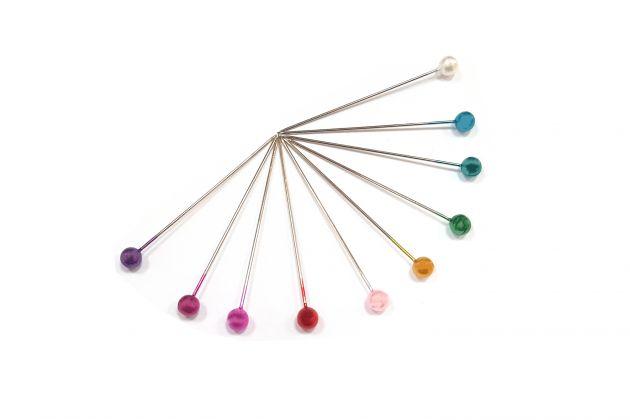 Булавки с цветными жемчужными головками, средние (0,58х40мм) 028602 фото №2