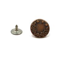Джинсовые кнопки, состаренная медь (14 мм)
